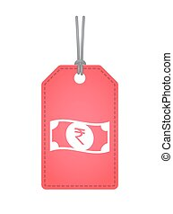 Isolated label with a rupee bank note icon - Illustration of...