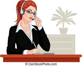 Call center operator - Vector illustration. Attractive young...