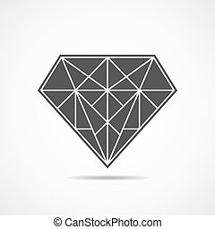 Diamond icon. Vector illustration. - Abstract diamond icon...