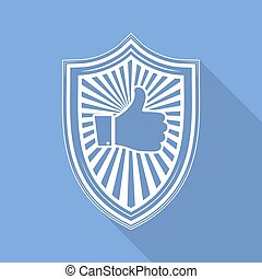 Shield with like hand icon. Vector illustration - White...