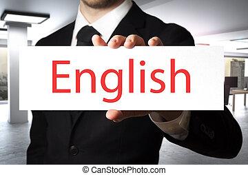 homem negócios, inglês, segurando, escritório, sinal
