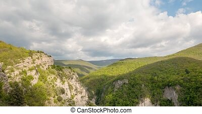 Clouds over the Grand Canyon of Crimea. Time Lapse. UltraHD...
