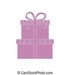 Vector illustration of gift boxes decorated Christmas trees.