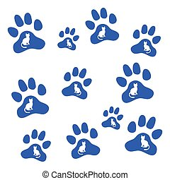 Nice picture of silhouette cats sit inside multicolored animal traces.