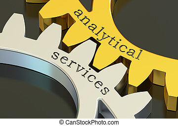 Analytical Services concept on the gearwheels, 3D rendering