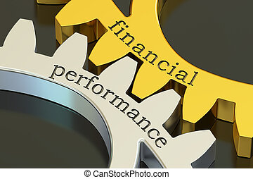 Financial Performance concept on the gearwheels, 3D...