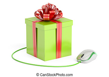 Online shopping concept, gift box with computer mouse. 3D rendering