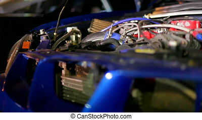 Car engine - Motor expensive sports car Moving camera