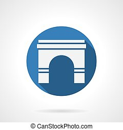 Wall archway blue round vector icon - White silhouette sign...