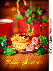 Merry Christmas greeting card, beautiful cozy festive sweets...