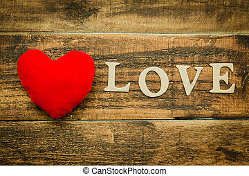 Beautiful card for Valentine´s Day - Red heart on a rustic...