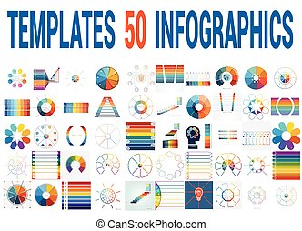 50 Vector Templates for Infographics for eight positions. -...