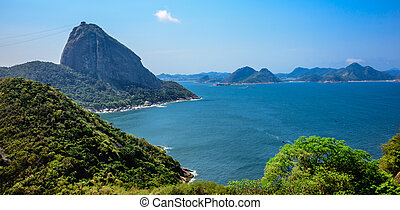 View of Sugarloaf Mountain from Forte do Leme, Rio de...