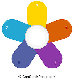 Camomile infographic template colourful petals 5 positions -...