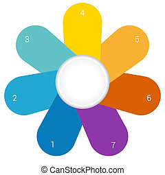 Camomile infographic template colourful petals 7 positions -...
