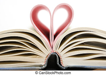 Love for Books - A conceptual heart formed by folding pages...