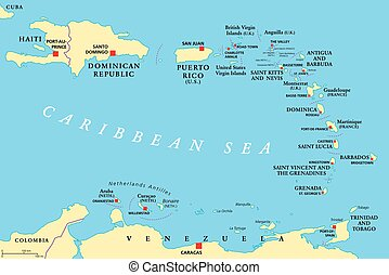 Lesser Antilles political map