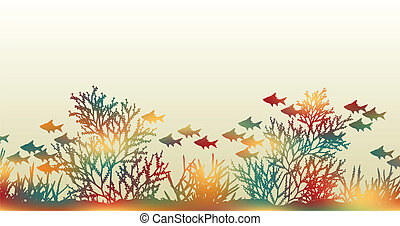 Color coral - Editable vector illustration of brightly...