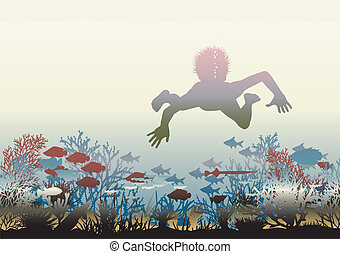 Coral discovery - Editable vector illustration of a boy...
