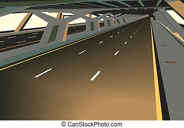 Covered highway - Vector illustration of a carless highway...