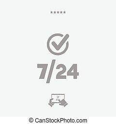 Check 7/24 service - Vector web icon