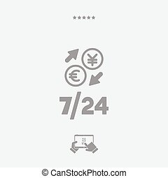 Foreign currency exchange 7/24 - Euro - Yen - Vector web icon