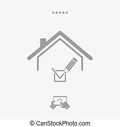 Checking house - Vector web icon