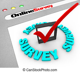 Online Survey - Web Screen - A web browser window shows the...