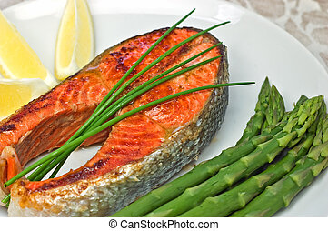 Sockeye salmon steak dinner - Fresh grilled sockeye salmon...