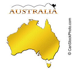 Australia - Continent of Australia with a hopping kangaroo