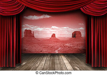 Red Theater Drapes With Desert Landscape Backdrop - Red...