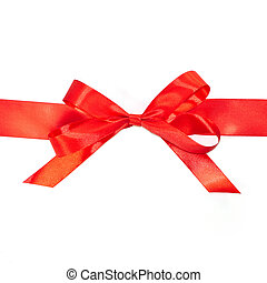 Red bow horizontal ribbon with tails