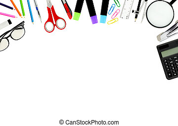 school supplies, accessories with copy space for education...