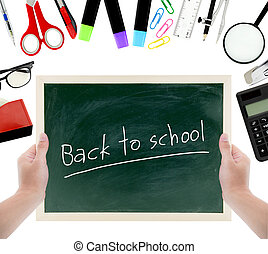 school supplies, accessories and chalkboard hold hand with...