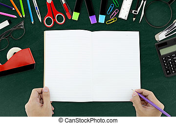 school supplies, accessories and hand writing note book with...