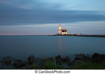 Lighthouse in Marken, NL - Lighthouse Paard van Marken on...