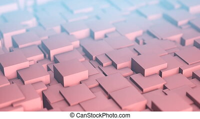 Background of waving cubes. Background animation. Abstract...