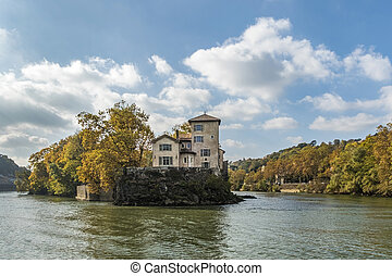 island Ile Barbe in the Saone, in the 9th arrondissement of...