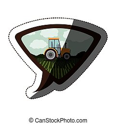 Isolated farm tractor design - Tractor vehicle icon. Machine...