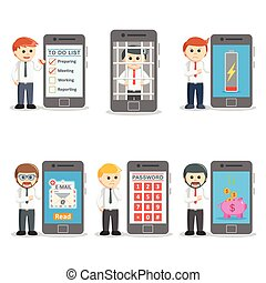businessman with smartphones