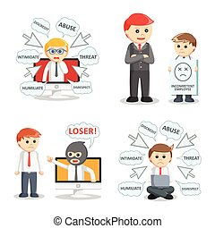 businessman bullying set illustration design