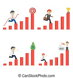 businessman climb up chart set