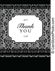 Vector Black Floral Thank You Background