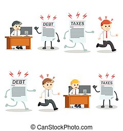 businessman with debt and taxes set