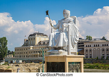 Monument of Justinian I in Skopje in a beautiful summer day,...