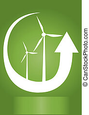 wind generator with arrow on green background