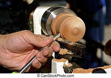 Turning wood on a lathe