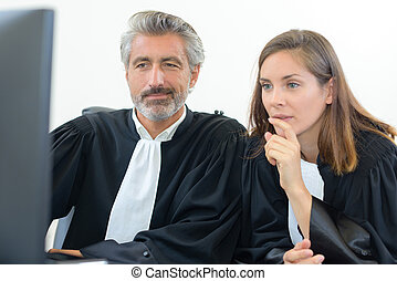 judges at a computer