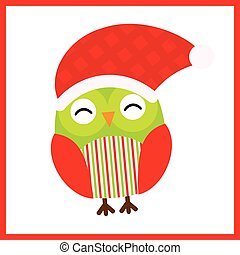 Christmas illustration with cute baby owl wears Santa hat on red frame