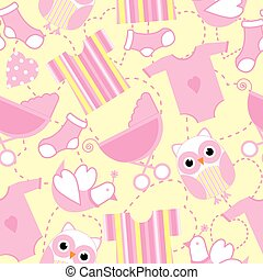 Seamless background of baby shower illustration with cute pink baby tools, and owl on yellow background